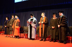 Wright College President David Potash (third from right) joins City Colleges presidents  at the 2014 City Colleges commencement ceremony.